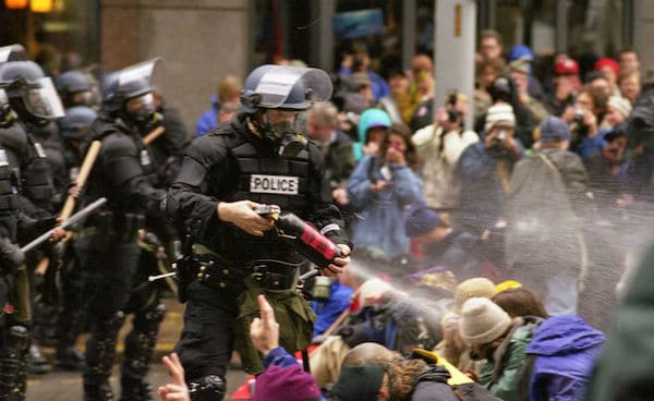 WTO protests in Seattle, November 1999. Photo- Steve Kaiser via flickr