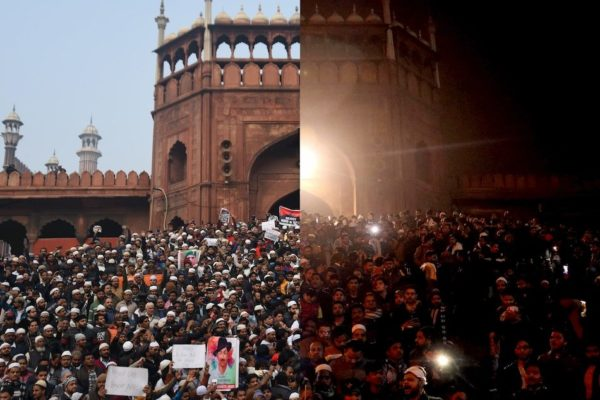 People protest from day to night at Jama Masjid in Delhi against the Citizenship Amendment