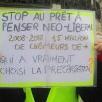 Pancarte place de la République pendant la manifestation des gilets jaunes le 26 janvier 2019.