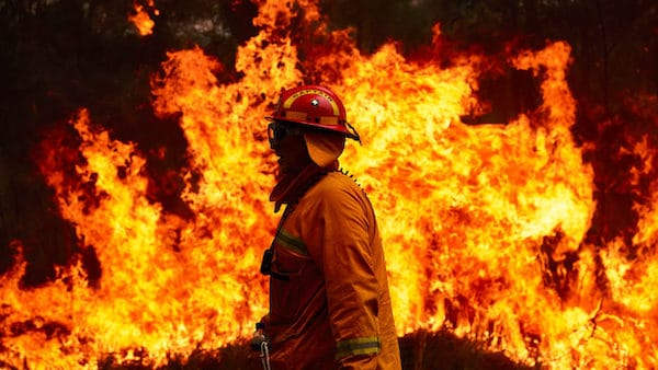 A firefighting crew works to control a blaze in Sydney, Australia in November. BRETT HEMMINGS:GETTY IMAGES