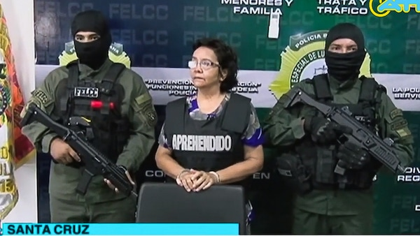 A press conference announcing the arrest of Hospital Administrator, Mirtha Sanjinez, center, in La Paz, Bolivia. Screenshot | YouTube