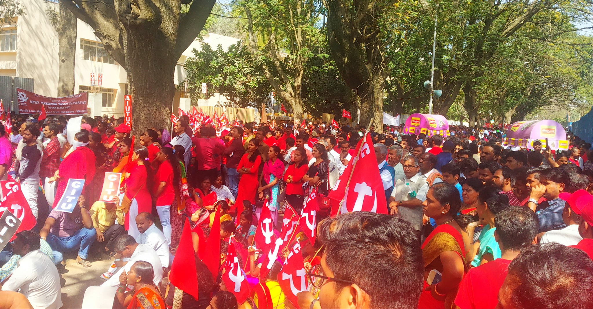 Bengaluru saw a massive show of force as a cross-section of workers participated in the strike.