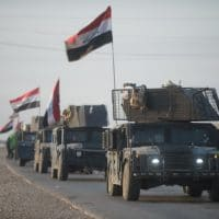 An Iraqi Counter Terrorism Service convoy moves towards Mosul, Iraq, Feb. 23, 2017. The breadth and diversity of partners supporting the Coalition demonstrate the global and unified nature of the endeavor to defeat ISIS in Iraq and Syria. Combined Joint Task Force – Operation Inherent Resolve is the global Coalition to defeat ISIS in Iraq and Syria. (U.S. Army photo by Staff Sgt. Alex Manne)