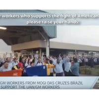 GM workers in Brazil in support of the strike