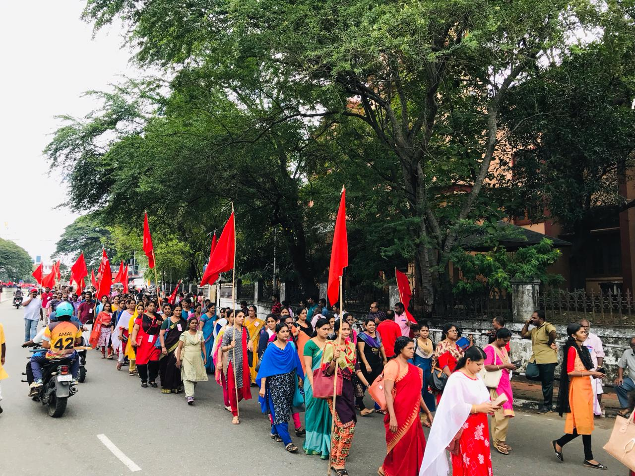 In Thiruvananthapuram in the State of Kerala, a bastion of the left, workers take out a march as part of the All-India General Strike.