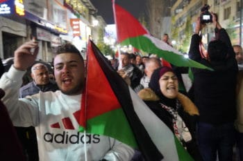 Palestinians protesting in Ramallah