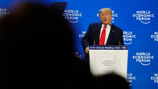 President Donald Trump delivers the opening remarks at the World Economic Forum, Tuesday, Jan. 21, 2020, in Davos. (AP Photo/ Evan Vucci)