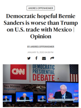 "Sanders is ""worse than Trump"" (Miami Herald, 1/15/20) because he doesn't believe the projections of the U.S. International Trade Commission—which economist Dean Baker said ""made a conscious decision to go against standard practice in the economics profession"" to make NAFTA 2.0 look good (Beat the Press, 4/25/19)."