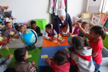 Syria trust for Development remedial class for children in Hanano, a former rebel-controlled zone in Aleppo