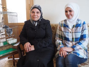 Alaa Dahood and her mother Walaa at their Aleppo apartment