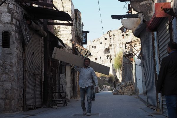 Residents of Aleppo rebuilding their war-damaged homes