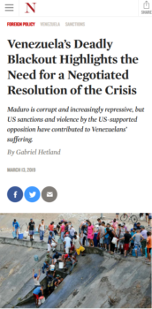 """The Nation (3/13/19) for a """"negotiated resolution"""" in Venezuela—i.e., regime change."""