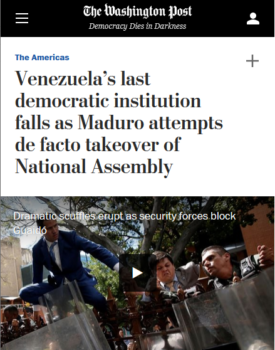 "The Washington Post (1/5/20) described Venezuelan lawmakers voting against someone other than Washington's chosen candidate to head the assembly as ""sedition within the opposition."""