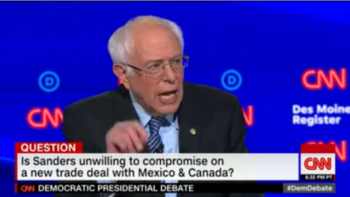 """When Sanders tried to explain how NAFTA 2.0 failed to address the climate crisis, the moderator declared that off limits: """"We're going to get to climate change, but I'd like to stay on trade."""""""