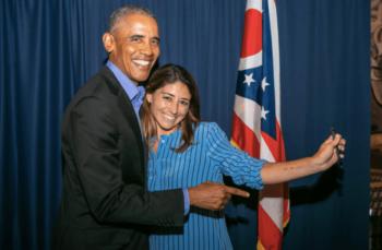 Acronym CEO Tara McGowan with Barack Obama, her former boss