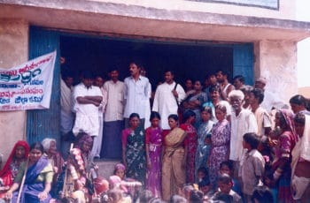 Dr. Geyanand and Dr. Prasoona at the Gruel distribution centre, which was opened by Jana Vignana Vedika, the People's Science Movement, in the Anantapur District after the region was affected by a severe drought in 2002. J. V. V. Anantapur