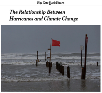 """Theory and computer modeling suggest an increase in storm intensity in a warmer world,"" the New York Times (8/25/17) acknowledges."