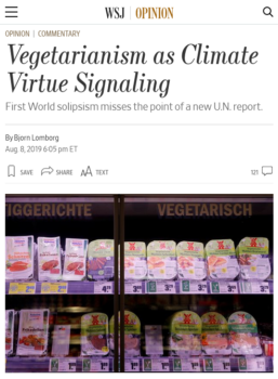 "The Wall Street Journal (8/8/19) dismissed switching to a plant-based diet as ""virtue signaling."""