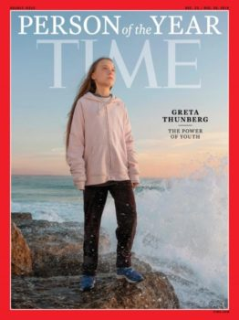 Time's naming Greta Thunberg as Person of the Year (12/23–30/19) was a symbol of rising media interest in the threat posted by climate change.