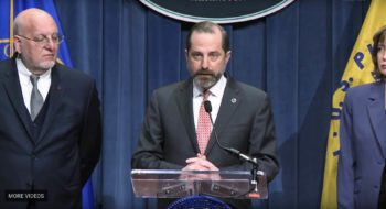 Alex Azar, the secretary of the Health and Human Services Department, at a recent press briefing on the coronavirus. Credit: Health and Human Services Department Twitter feed.