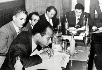 Frantz Fanon at a press conference of writers in Tunis, 1959. Frantz Fanon Archives / IMEC