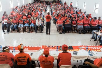 Meeting of Abahlali baseMjondolo, South Africa's shack dwellers' movement, in February 2020. Rajesh Jantilal