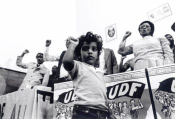 Meeting of the United Democratic Front (UDF), a leading anti-apartheid body that launched in 1983 and joined the struggles of many South African organisations. Wits Historical Papers