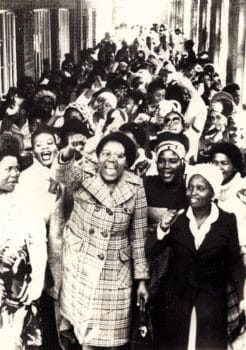 A strike organised by Dano textile workers in Hammarsdale, South Africa, 1982. Wits Historical Papers