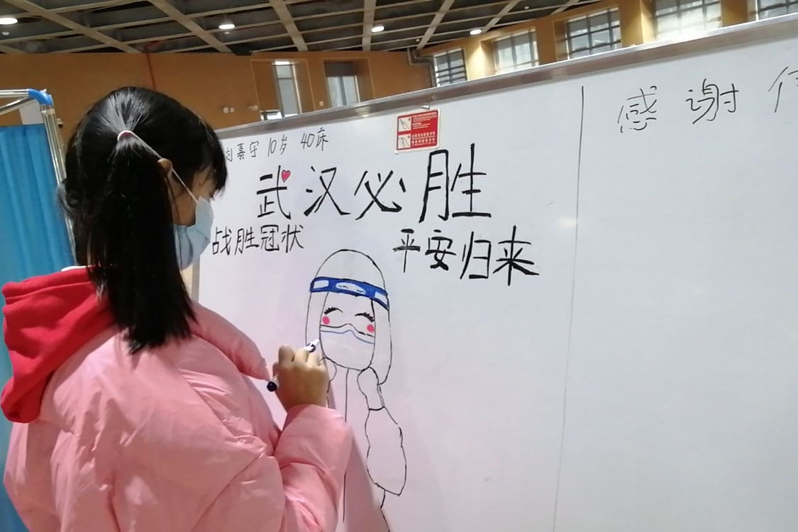 | A 10yearold patient draws on the notice board at a Wuhan hospital every day | MR Online