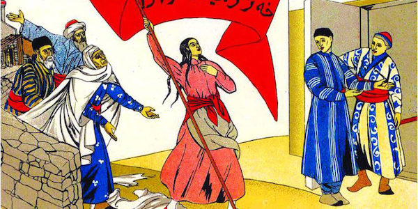 'I am free now' - Soviet poster from 1921, inviting young Muslim women from Turkestan to join the revolution