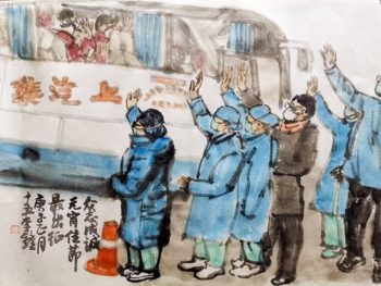 Li Zhong (China), Paintings for Wuhan, 2020.