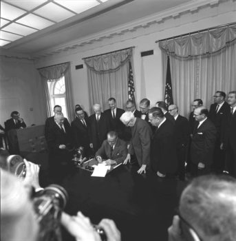 President Lyndon Johnson signs the 24th Amendment, Feb. 4, 1964, abolishing poll taxes. Cecil W. Stoughton:Wikimedia Commons