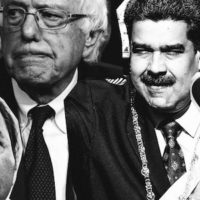 """Slate photo illustration for the article """"Sanders Has a Soft Spot for Latin American Strongmen"""" (2/20/19)."""