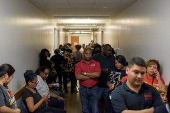 Voters in Houston, Texas, wait in line to vote on Super Tuesday 2020. Mark Felix:AFP via Getty Images