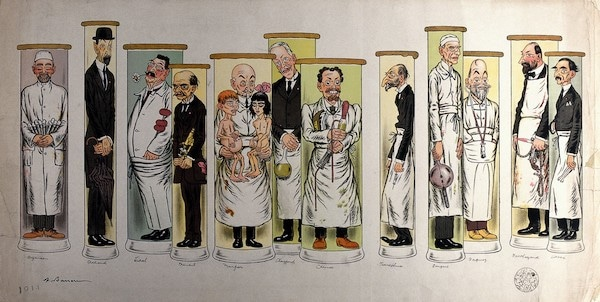 V0036166 Twelve doctors standing in test tubes. Colour lithograph by