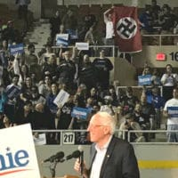 """Whoever it was, I think they're a little outnumbered tonight,"" Sen. Bernie Sanders (I-Vt.) said after the man with the Nazi flag was removed from the rally. (Photo: Screenshot/Bernie Sanders Campaign via Storyful)"
