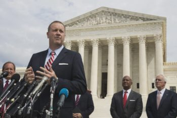 Missouri Attorney General Eric Schmitt speaks in front of the United States Supreme Court in Washington in September. Photo: AP