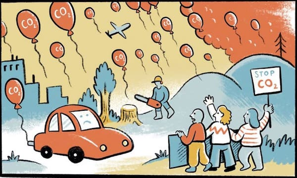 Figure 1. A visual metaphor for each of our personal carbon dioxide emissions — bright balloons that linger in our skies. Image courtesy of Nexus Media. Art by Matteo Farinella, written by Jeremy Deaton.