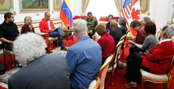 President Maduro meets with a peace delegation from the United States and Canada in March 2019 where he expressed a desire for peace between our countries but said that Venezuela was prepared to defend itself if necessary.