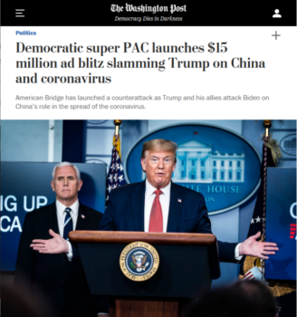 "The Washington Post (4/19/20) features rival political operatives arguing about which candidate ""bent the knee to China."""