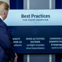 President Donald Trump participates in the daily briefing of the coronavirus task force at the White House on April 23, 2020 in Washington, D.C. (Photo by Drew Angerer/Getty Images)