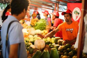 National Agrarian Reform Fair in the city of São Paulo. The annual event brings together more than 200,000 people over four days and has become the MST's main channel to dialogue with society. Roughly 420 tons of a variety of 1,530 types of different products are available at the fair. Joka Madruga