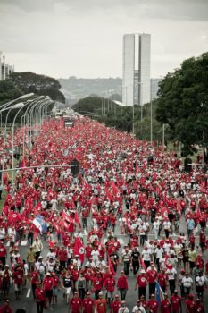 MST march that took place during the movement's 6th National Congress in 2014. The marches are among the movement's primary instruments of struggle. Mídia Ninja
