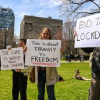 michael_swan Follow Lockdown Protesters An anti-lockdown protest at Queen's Park April 25 attracted about 200 who claimed measures to control the spread of COVID-19 are an infringement of freedom.