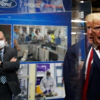 President Donald Trump speaks as he tours Ford's Rawsonville Components Plant that has been converted to making personal protection and medical equipment, Thursday, May 21, 2020, in Ypsilanti, Mich. (AP Photo/Alex Brandon)