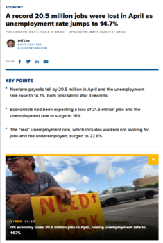 """For CNBC (5/8/20), a """"key point"""" was that """"economists had been expecting…the unemployment rate to surge to 16%."""""""