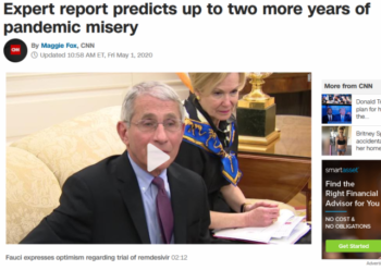 CNN (5/1/20) fails to note that its expert is predicting a seven-figure death toll for the United States.