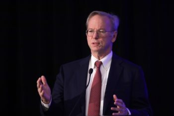 Eric Schmidt, executive chair of Alphabet Inc., Google's parent company, speaks during a National Security Commission on Artificial Intelligence conference on Nov. 5, 2019 in Washington, D.C. Photo: Alex Wong/Getty Images