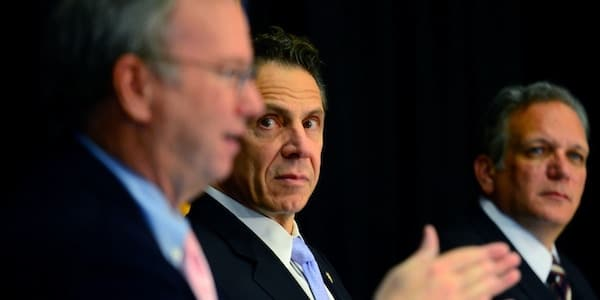 New York Gov. Andrew Cuomo looks on as Google executive chair Eric Schmidt, left, talks during the Smart Schools Commission report at Mineola Middle School on Oct. 27, 2014 in Mineola, N.Y. Photo: Alejandra Villa-Pool/Getty Images