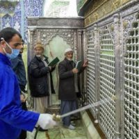 Sanitising the shrine of Hazrat Masoumeh against the coronavirus in the holy city of Qom, Iran, February 25, 2020. File photo